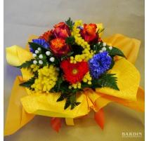 Bouquet mazzo fiori misti con mimosa