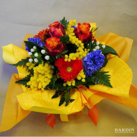 Mazzo Di Fiori Con Mimose.Bouquet Mazzo Fiori Misti Con Mimosa Eshop Bardin Gardencenter