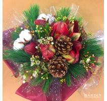 Bouquet di fiori invernale con Amaryllis e waxflower