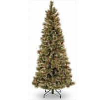 Abete di Natale Brinato Slim con Pigne 225cm