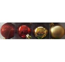 Palline di Natale, Tubo 9 Sfere Plastica 6cm MIX ROSSO/ORO