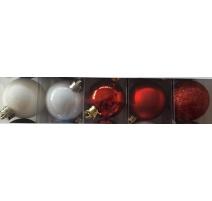 Palline di Natale, Tubo 9 Sfere Plastica 6cm MIX ROSSO/BIANCO