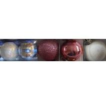 Palline di Natale, Tubo 9 Sfere Plastica 6cm MIX AZZURRO/ROSA/BIANCO