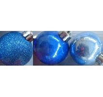 Palline di Natale, Tubo 9 Sfere Plastica 6cm MIX BLU/AZZURRO