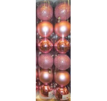 Palline di Natale, Tubo 6 Sfere Plastica 8cm ROSA
