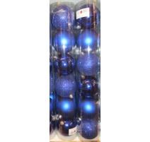 Palline di Natale, Tubo 6 Sfere Plastica 8cm BLU