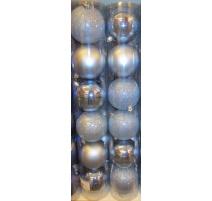 Palline di Natale, Tubo 6 Sfere Plastica 8cm AZZURRO