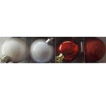 Palline di Natale, Tubo 6 Sfere Plastica 8cm MIX ROSSO/BIANCO