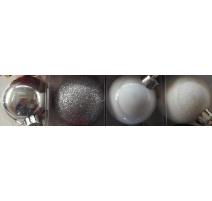 Palline di Natale, Tubo 6 Sfere Plastica 8cm MIX ARGENTO/BIANCO