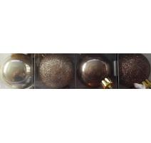 Palline di Natale, Tubo 6 Sfere Plastica 8cm MIX MARRONE/PERLA