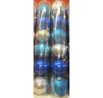Palline di Natale, Tubo 6 Sfere Plastica 8cm BLU/AZZURRO