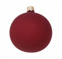 Pallina di Natale, Sfera di Vetro, 8 Cm, Bordeaux Vellutato